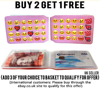 £1.99 • Buy Pink Emoji Bus Pass Wallet Credit Travel Cash Rail Id Holder For Oyster Card