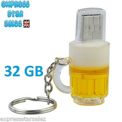 ✸ Cartoon Beer Key Ring ✸ With 32GB USB 2.0 Flash Drive ✸ FREE P&P ✸ • 15.99£