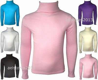 £5.99 • Buy Girls Kids Jumper Ribbed Polo Neck Childrens Tops New Childs Teen Baby 0-13 Yrs