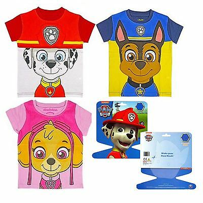 Kids Official Paw Patrol Tshirt With Mask Craft Dress Up Top Shirt • 4.89£