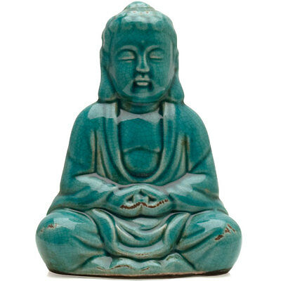 Ceramic Sitting Thai Buddha Statue Turquoise - Blue Crackle Glazed Ornament New  • 15£