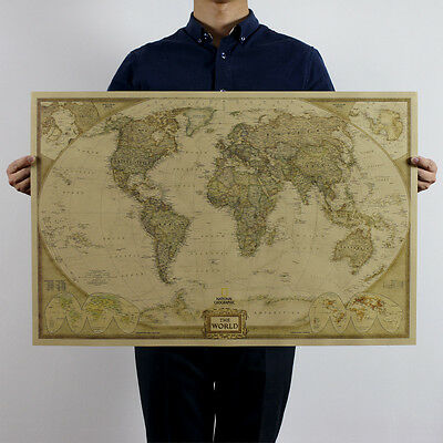 AU19.99 • Buy Large World Map Up To 104x69cm Retro Poster Vintage Style Wall Decor Picture