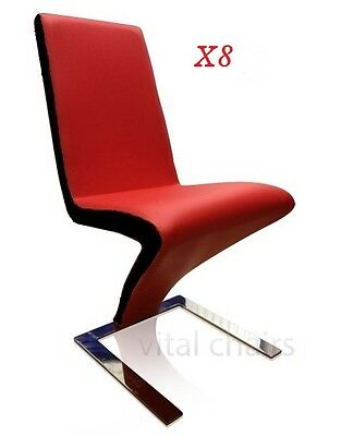 AU999 • Buy 8 X NEW MODERN Z Design DINING TABLE CHAIR PU LEATHER CHAIRS RED WITH BLACK Trim