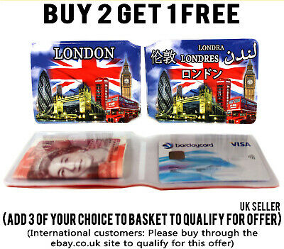 £1.89 • Buy London Montage Bus Pass Credit Card Id Holder Travel Rail Slim Wallet For Oyster