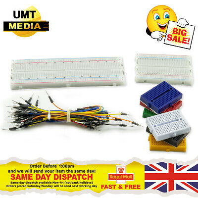 £5.45 • Buy Solderless Breadboard Prototype + 65pc Jump Cable Wires PCB Arduino Raspberry PI