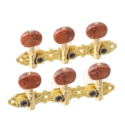 $ CDN14.06 • Buy Classical Guitar Tuner Tuning Pegs Machine Heads Brown Button Gold