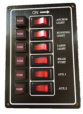 AU39.50 • Buy Switch Panel 12 Volt Alloy Illuminating 6 Gang Vertical With Fuses Black New