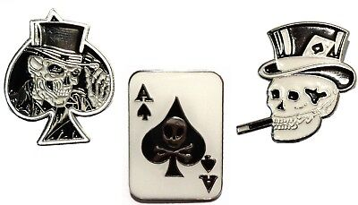 Ace Of Spades Card Grinning & Smoking Skulls Motorcycle Metal Biker Badge Set • 4.99£