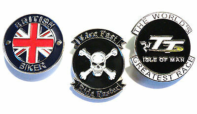 Isle Of Man TT, British Biker & Live Fast Motorcycle Metal Biker Badge Set NEW • 4.99£