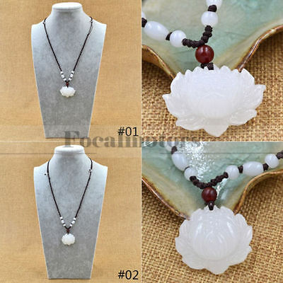 $ CDN2.23 • Buy Natural White Jade Carved Lotus Flower Pendant Necklace Beads Rope Chain Lucky