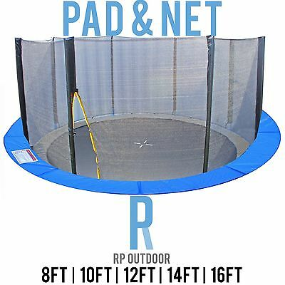 AU80 • Buy NEW Replacement Trampoline Safety Pole Net & Pad Round Spare 8ft 10ft 12ft 14 16