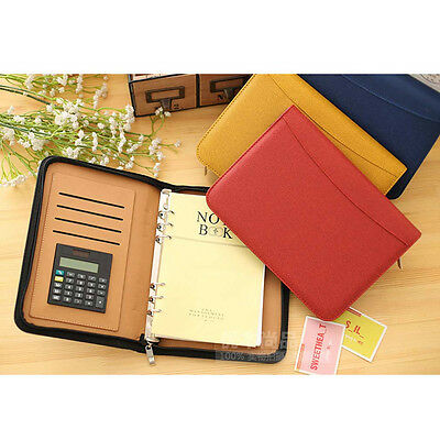 AU32.47 • Buy A6/A5/B5 Business Loose Leaf Planner Schedule Calculator Notebook Diary Leather