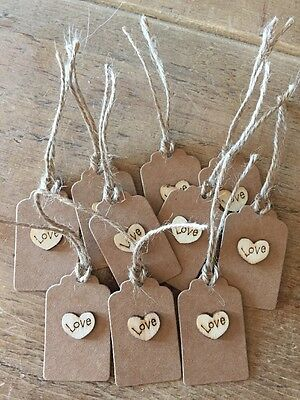 10 Kraft  Love   Gift Tags- Handmade Vintage Style,wedding,birthday • 2.50£