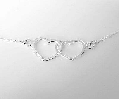 16  Sterling Silver Karma Necklace Eternity Infinity Double Heart Pendant Chain • 15.99£