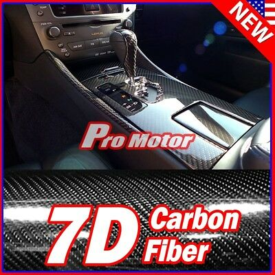 $12.75 • Buy 24  X 60  Black Carbon Fiber 7D Premium Gloss Vinyl Wrap Bubble Free Release PRO