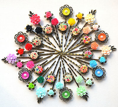 £2.25 • Buy Hair Pin Grip Clips Slides Bobby Vintage Accessories Flower Pearl Rose Bronze