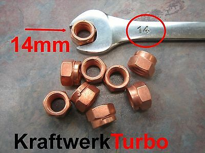 $4.99 • Buy 4x M10-1.50 Copper Turbo Nuts 14mm (!!!) Hex - Exhaust Downpipe - From Michigan