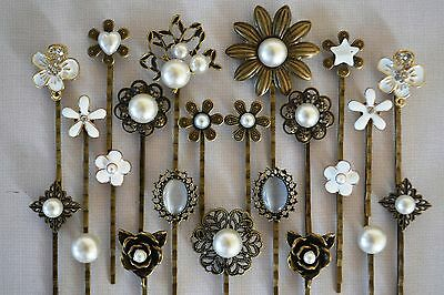 Pearl Hair Pin Grip Clips Slides Bobby Vintage Accessories Flower Rose Bronze • 2.75£
