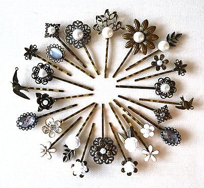 Pearl Hair Pin Grip Clips Slides Bobby Vintage Accessories Beads Rose Bronze • 2.75£