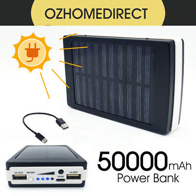 AU21.58 • Buy 50000mah Solar Power Bank Portable External Battery Dual USB Phone Charger