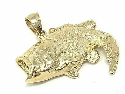 14k Yellow Gold Solid Big Bass Fish Charm Pendant 4.2 Grams • 210.49$