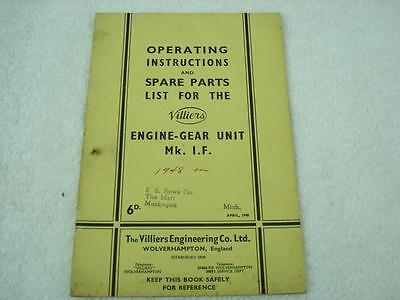 1948 Villiers Engine Gear Unit Mk I F Operating Inst Spares Parts Catalog Manual • 48.71£