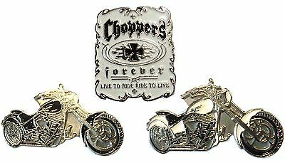 Choppers Live To Ride Black White Chopper Bikes Motorcycle Metal Biker Badge Set • 4.99£