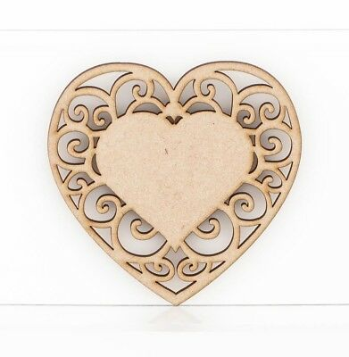 MDF Wooden Lace Heart Intricate Craft Shapes Embellishment Decoration Blank Sign • 3.19£