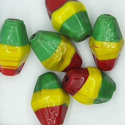 $12.97 • Buy Glass Beads Red Yellow Green Rasta Opaque Lozenge 25mm Pack Of 6. Made In India.