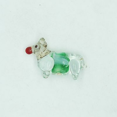 £12.21 • Buy Glass Beads Green Clear Color Lined Dog Animal 25mm. Pack Of 10. Made In India.