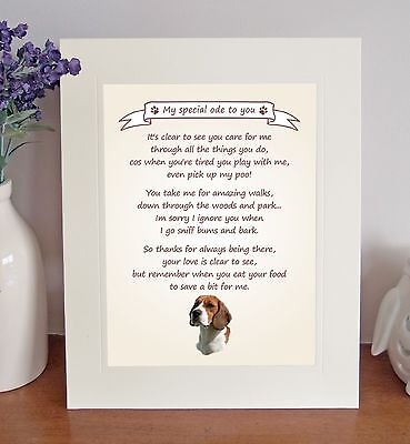 Beagle Thank You FROM THE DOG Poem 8 X 10 Picture/10x8 Print Fun Novelty Gift • 7.50£