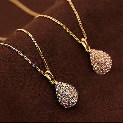 $0.76 • Buy Women Fashion Gold Silver Plated Crystal Pendant Long Chain Statement Necklace