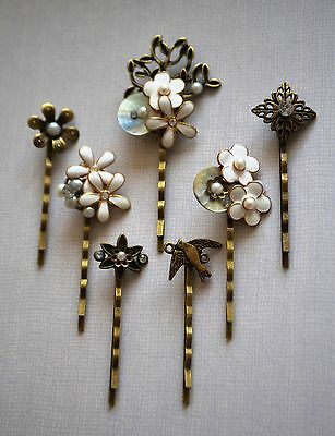 Pearl Hair Pin Grip Clips Slides Bobby Vintage Accessories Beads Antique Bronze • 3£
