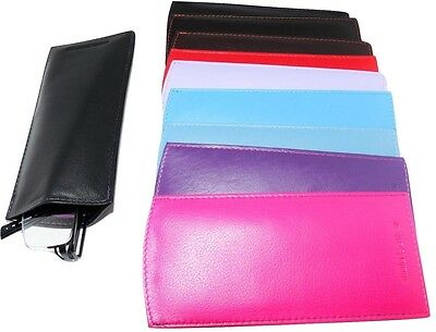 £5.99 • Buy Mala Leather Glasses Sleeve Case Reading Lined Colours Genuine Leather