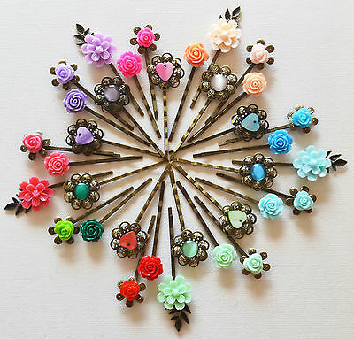 £2.25 • Buy Hair Pin Grip Clips Slides Bobby Pins Wedding Accessories Beads Rose Bronze Tone