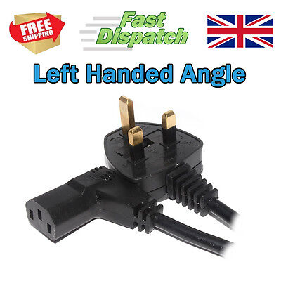 Power Cord UK Plug To Right Angle IEC C13 Cable Kettle Lead 3m Left Handed • 8.99£