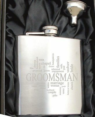 £6.99 • Buy Personalised HF504 Engraved Groomsman 6oz Hip Flask With Funnel And Gift Box