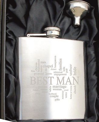 £6.99 • Buy Personalised HF501 Engraved Best Man 6oz Hip Flask With Funnel And Gift Box