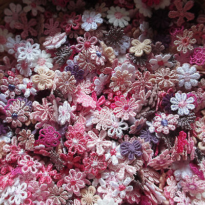 Mixed TINY PINK/PURLE 10-14mm Guipure Lace Daisy Motifs Sew On Flower Appliques • 2.60£