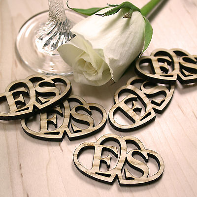 Personalised Rustic Wooden Entwined Hearts Wedding Favours Table Confetti • 5£
