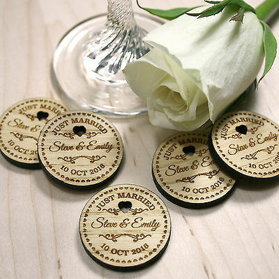 Personalised Rustic Wooden Just Married Wedding Favours Table Confetti • 2£
