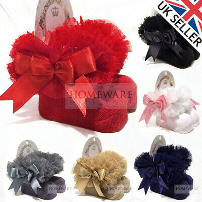 Girls Baby Tutu Socks Spanish Satin Bow Socks Soft Frilly Tulle Kids Ages 0-6 Y • 5.99£