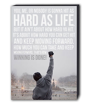 Rocky Balboa Quote Canvas Wall Art Framed Picture Print Boxing - Various Sizes • 12.99£