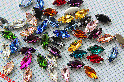 50pcs 5x10mm Sew On Rhinestone Cabochons Navette Crystal Glass DIY Dress Making • 4.20£