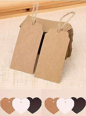 100 Kraft Paper Gift Tags Scallop Heart Label Luggage Wedding Blank + Strings • 3.25£