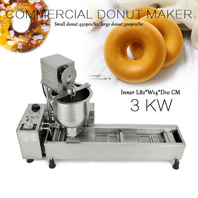 220V Commercial Automatic Donut Maker Making Machine Wide Oil Tank 3 Sets Mold • 741.91£
