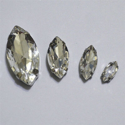 Sew On Glass Navette Crystal Clear Rhinestone Cabochons Y-pk Dress Making Diy • 4.20£