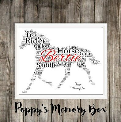Personalised Horse Word Art Print Gift Keepsake ANY COLOUR Shire Available • 14.99£