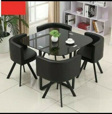 AU425 • Buy New Space Saver Black Glass Dining Table & 4 Black Chair Set