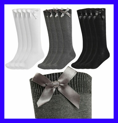 6 Pairs Girls Knee High School Socks With Bow Cotton Bow Black Navy Grey White • 7.99£